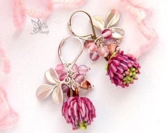 Lampwork Earrings - Clover ( pink )