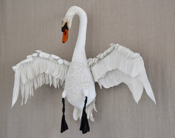 Swan Sculpture Art textile Art contemporary decorative object