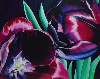 Black Tulip - Black Tulip - contemporary oil on wood painting