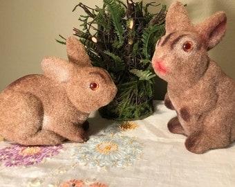 Vintage Flocked Easter Bunnies, Vintage Easter Decor, Brown Easter Bunnies, Brown Flocked Bunny Rabbits, Fuzzy Easter Bunnies, Rustic Easter