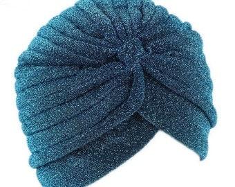 New Sparkling, Vintage Ladies Turban Cap, Hijab Cap, Chemo Cap, Fancy Turban, Fullhead Turban Cap. One Size Fits All