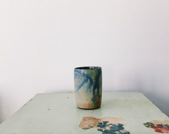 Periwinkle & Honey Marble Ceramic Cup