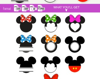 MICKEY & MINNIE MOUSE Svg Disney Cuttable Dxf Electronic Cutter Cricut Silhouette Disney svg Files split Monogram svg clipart clip art 065