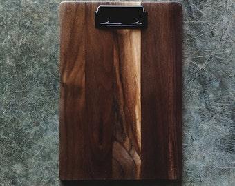 Restaurant Wooden Clipboard Menu Walnut, Small w/ Low Profile Clip