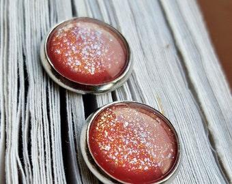Glitter earrings rings ear hook earrings studs 12 mm red, cream, gold
