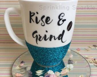 Glitter Dipped Mug Rise & Grind Coffee Bean Breakfast Mug 330ml
