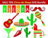 Cinco de mayo SVG Cinco de mayo clipart Mexico SVG Fiesta Clip Art Pinata Sombrero Guitar Maracas Silhouette Cameo Cricut Cut File Scrapbook