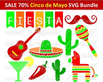 Cinco de mayo SVG Cinco de mayo clipart Mixico SVG Fiesta Clip Art Pinata Sombrero Guitar Maracas Silhouette Cameo Cricut Cut File Scrapbook