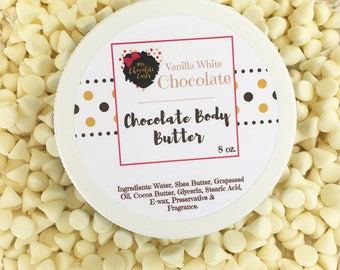 Vanilla White, Chocolate, Body Butter, Bath and Beauty, Skincare, Moisturizer, Shea Butter, Cocoa Butter