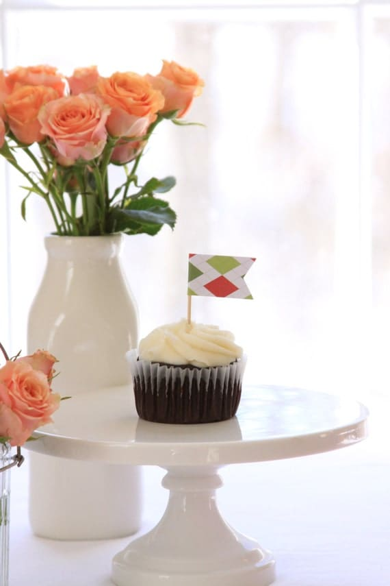 Derby Party Cupcake Toppers Horse Race Preppy Red Golf