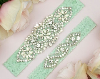 Mint Green Garter Set, Wedding Garter Set Mint, Mint Green Garter, Wedding Garter, Mint Lace Garter, Mint Green Wedding, Garter Set, 8-1A