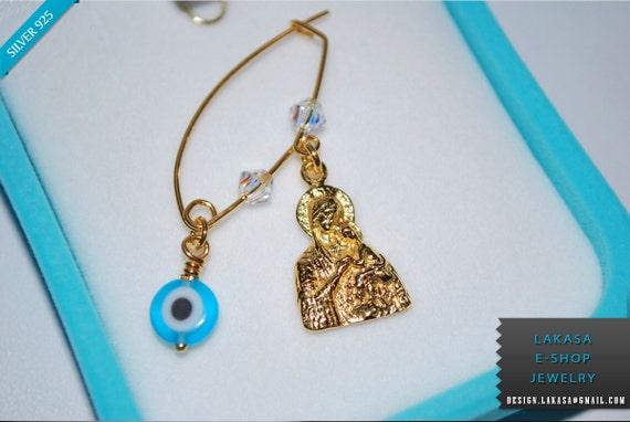 Madona Baby Brooch Sterling Silver Gold plated Swarovski Crystals Blue Eye Handmade Jewelry Baptism Birthday Mother Newborn girl boy kids