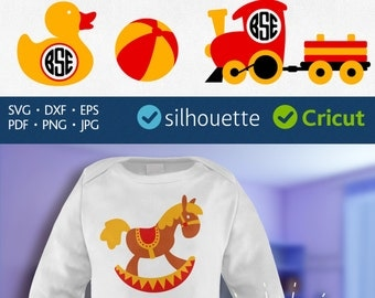BABY TOYS MONOGRAM Svg Dxf cut files clipart Teddy Bear svg Stacking toy svg Duck vector Rocking horse svg Train Svg Cricut Silhouette
