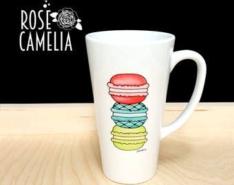 Big Mug, Macaroons, Foodie Gift, Colorful Mug