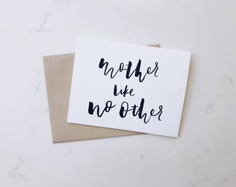A2 Card 'Mother Like No Other' // Motherhood, Mother's Day, Hand Lettered Greeting Card