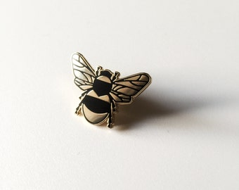 Bee Enamel Pin - Lapel Pin - Gold and Black