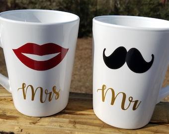 Couples Mugs, Mr. and Mrs. Mugs, Married Mugs, White Matching Mugs, Red Lips, Black Mustache, Married Mugs, Couples Mugs Anniversary Mugs
