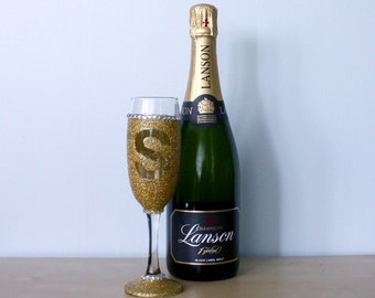 Glitter Glass - Customised Champagne/Prosecco Glass - With or without initial