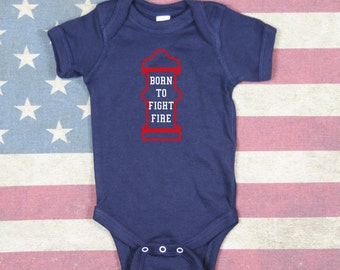Cute Baby Firefighter Onesie Born to Fight Fire with Fire Hydrant