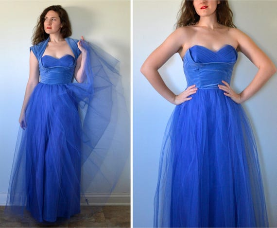 Valliant Heart Dress | vintage 50's royal blue tulle and velvet ball gown | xs