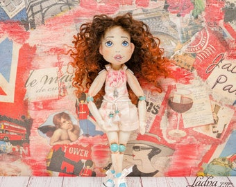 Interior doll. Handmade doll. Collectible doll. Interior doll. Art doll. Cloth doll. Rag doll. Textile doll. Soft doll. pink doll. OOAK doll
