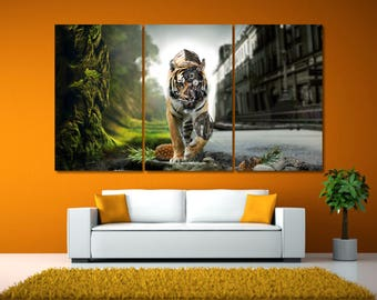 Extra Large Tiger Print Art, Tiger Canvas Print, Wild Tiger Wall Art, Nursery Decor, Modern Canvas Print, Safari Animal Print, Safari Print