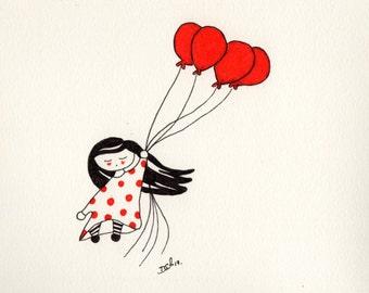 SerieR & N_3. Print girl, balloons, flying, wind, red, black, moles, girl, children, to fly, balloons, wild, red, black, evil