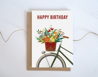 Floral Birthday Card, Printable birthday card for her, Cycling gift, Happy Birthday card, Bike gift for her, Printable Floral card