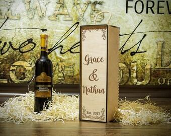 Wedding gift Wedding Wine box Custom wine box Wood engraved wine box Wine ceremony Wedding gift for Couple Gift Anniversary Gift