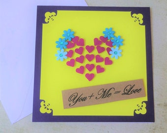handmade 3D you and me love card for wife or girlfriend, anniversary card, engagement card, valentines day card, cute greeting card,