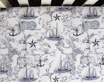 Navy Nautical Map Crib Bedding. Baby Bedding. Nautical Bedding
