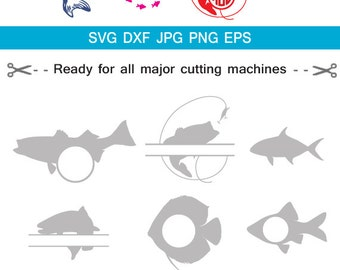 Fishing SVG Cut Files - Fishing Monogram svg cut files for Cricut Silhouette Studio Cameo  ,Svg. Eps, Dxf, Png