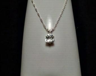 Aquamarine Trillion Gemstone Solid Sterling Silver Necklace