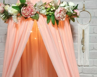 Pink peony floral wreath for baby nursery girls room decor. Fits our cot / crib canopies or hang as baby mobile. Peonies, roses & blossoms
