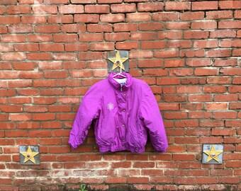 SALE!  Unique Snowflake Jacket/ 1980s Purple Ski Jacket With Snowflake Embroidery