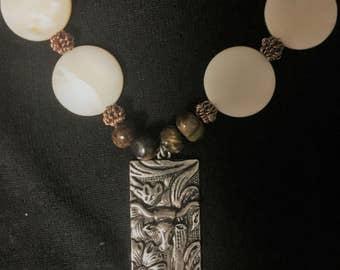 Long Horn Bronze Necklace