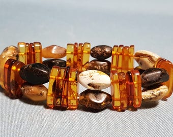 Genuine Baltic Amber Bracelet, Multi-Color