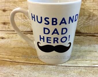 HUSBAND, DAD, HERO coffee mug, personalized coffee mug, gift for dad, gift for husband, customized dad mug, dad birthday, funny mug for dad