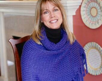 Handmade Custom Knit Shawl ~ Cobalt