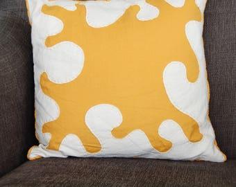 Matisse Decoupé Pillow - Embroidered Throw Pillow - Mustard Yellow