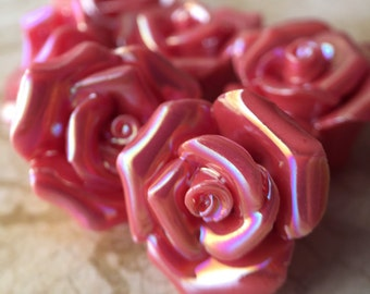Qty2 Iridescent, Handmade, Ceramic Rose Beads, Pink, Dusty Rose, Shiny, Romantic, Elegant, Victorian