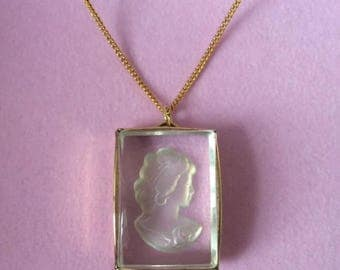 Vintage 1950's Cameo Intaglio Clear Glass Rectangular Pendant Necklace