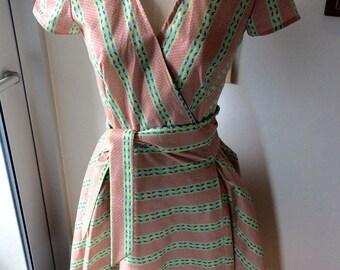 Pink Striped Wrap Dress-Small
