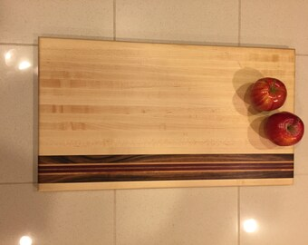 Handmade Maple Cutting Board with Walnut, Maple and Purple Heart Stripe