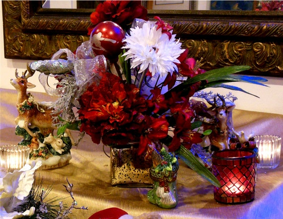 Christmas Fabulosity Silver Mercury Glass Base features Exotic Red Peonies  w White Daisies & 2 Hand Painted Glass Ornaments!