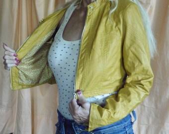 Short jacket, ochre, crumpled faux, year 80' short jacket with beautifull lining