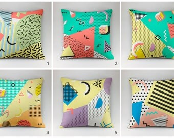 Memphis style pillow cover Decorative pillow Throw pillow cover Cushions Printed pillow 18x18 all sizes Memphis style cover yelow-green pack