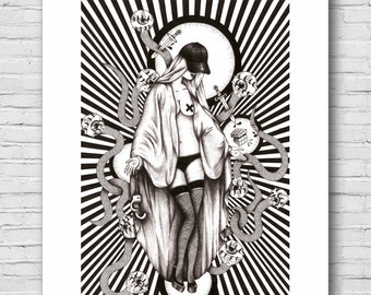 Not virgin mary, black and white illustration, Virgin Mary, poster, art, decoration, graphic collection