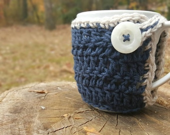 Coffee Mug Cozy (Navy/Beige)