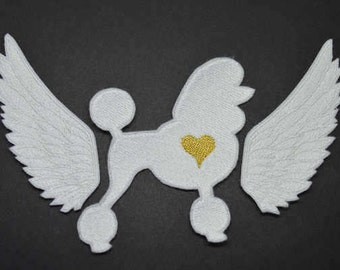 Little Angel wings with poodle Iron On  Applique Embroidered Patches Machine Embroidery Design for Angel wings -lover